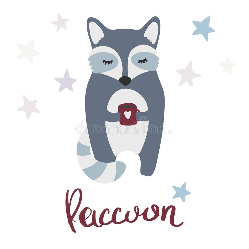在一件毛线衣的逗人喜爱的动画片浣熊有杯子、星装饰和字法的 库存例证