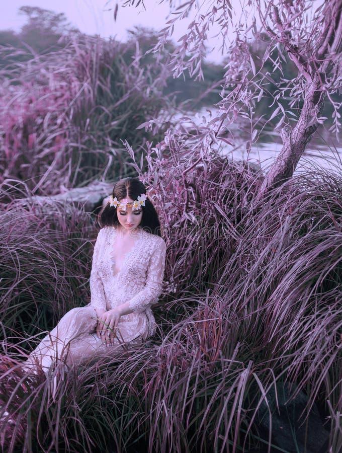 在一件白色鞋带礼服的一个河若虫在一棵高草坐由湖 公主有一个美丽的花圈 美妙 免版税库存图片