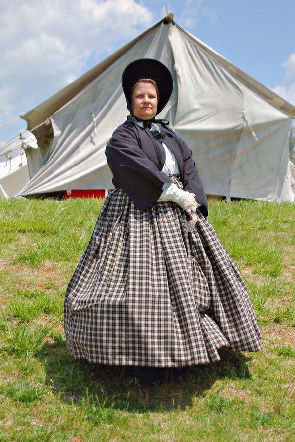 """在一件礼服的女性Reenactors在Liberty† -贝得福得,弗吉尼亚""""Battle  库存图片"""