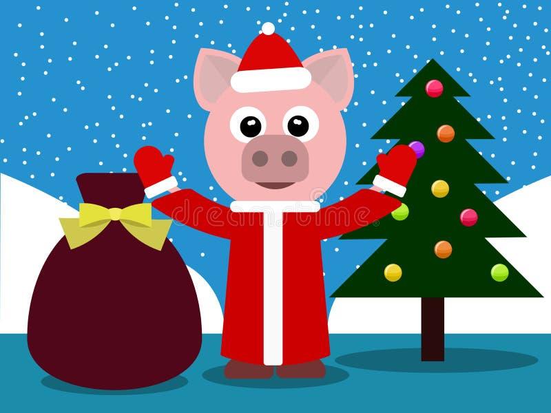 在一件红色皮大衣的猪 免版税库存图片