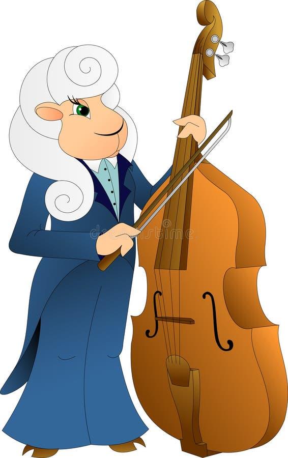 在一件蓝色燕尾服的一只公羊播放低音提琴 皇族释放例证