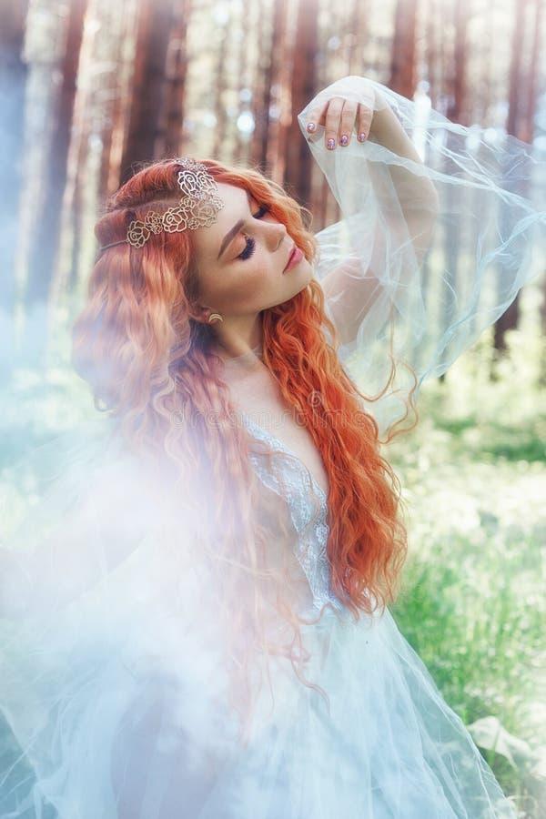 在一件蓝色透明轻的礼服的美丽的红头发人妇女森林若虫在转动在舞蹈的森林 红色头发女孩 艺术时尚 图库摄影