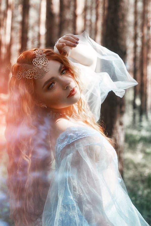 在一件蓝色透明轻的礼服的美丽的红头发人妇女森林若虫在转动在舞蹈的森林 红色头发女孩 艺术时尚 免版税库存照片