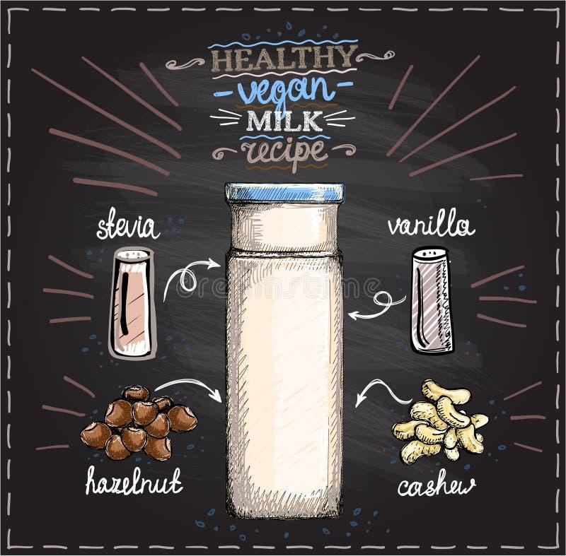 在一份黑板、未加工的腰果和榛子牛奶菜单的健康素食主义者坚果牛奶食谱与成份 库存例证