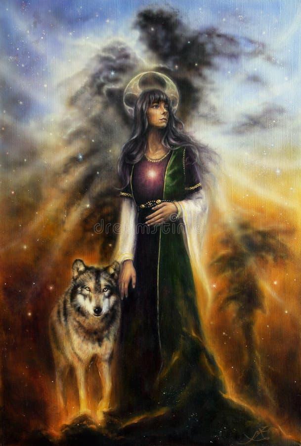 在一位神秘的神仙的女教士的帆布的美好的油画有一头狼的由她的边 皇族释放例证