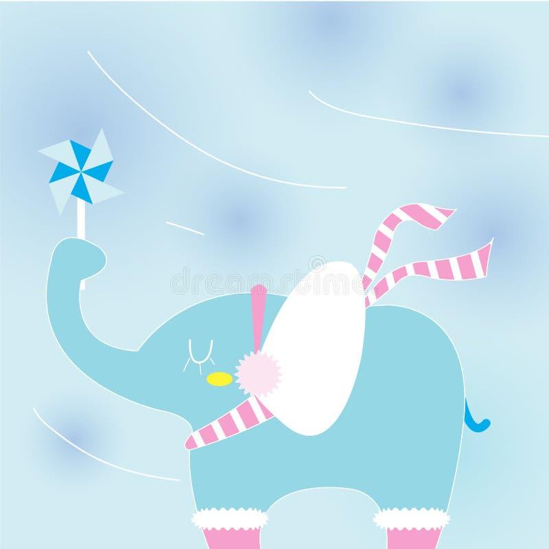 在一冷日的大象 库存例证