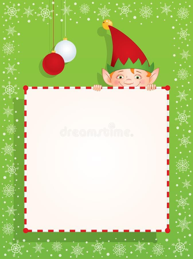在一副空白的横幅后的圣诞节矮子 皇族释放例证