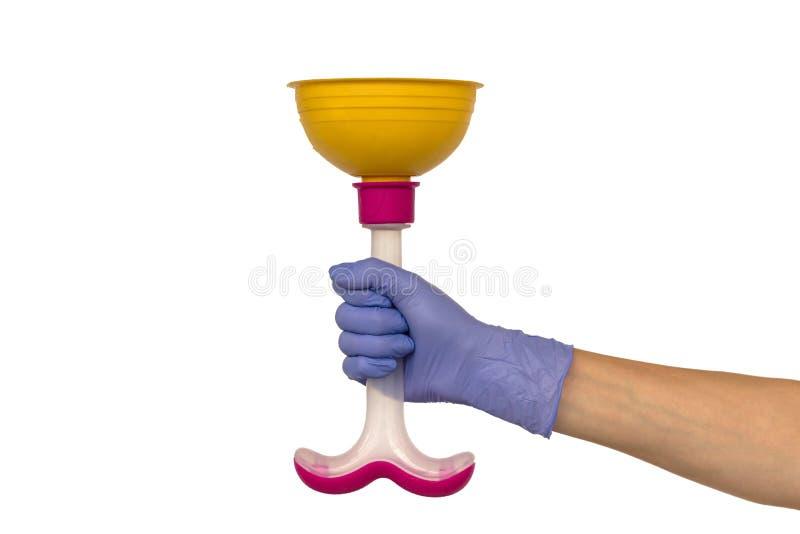 在一副紫色橡胶手套的女性手拿着一个黄色柱塞与 库存图片