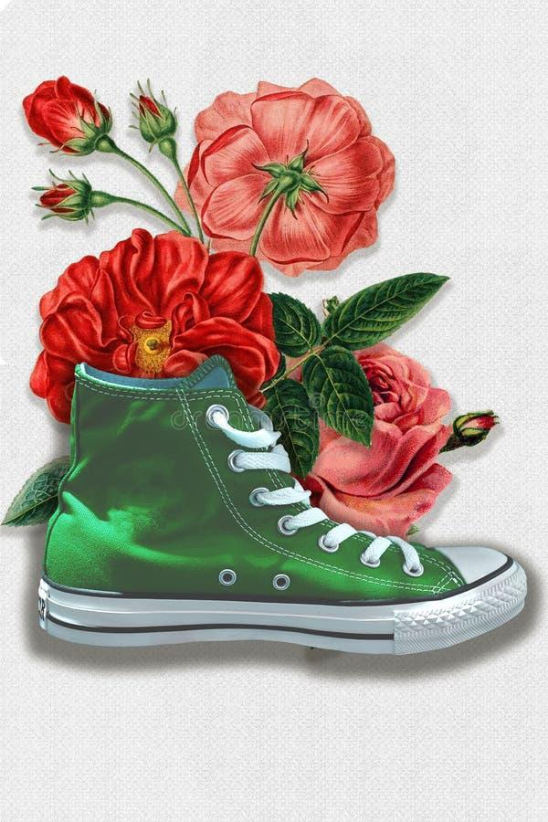 在一双绿色运动鞋的花 库存图片