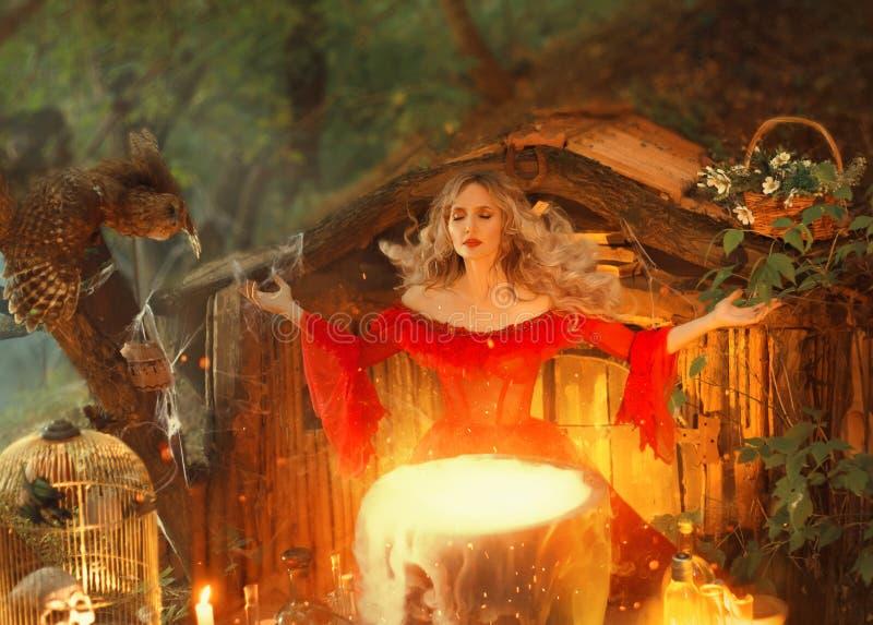 在一口大不可思议的大锅上的俏丽的白肤金发的夫人有烟的,在长的明亮的红色礼服的森林若虫有宽松袖子厨师的 库存照片