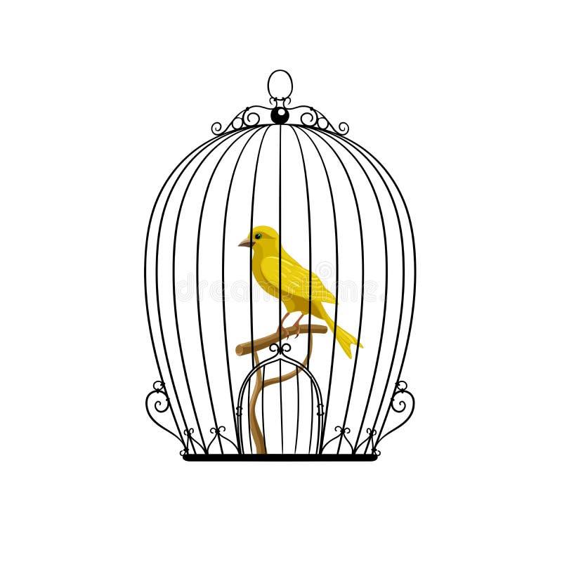 在一只黑笼子的黄色鸟 皇族释放例证