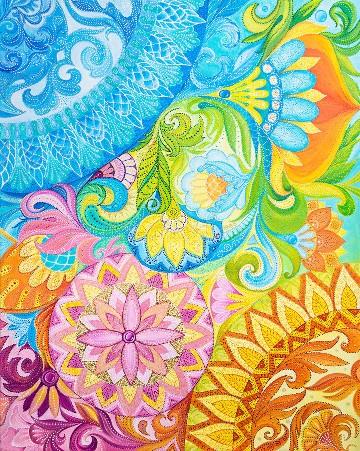 在一块帆布的抽象图画油漆与花饰 皇族释放例证