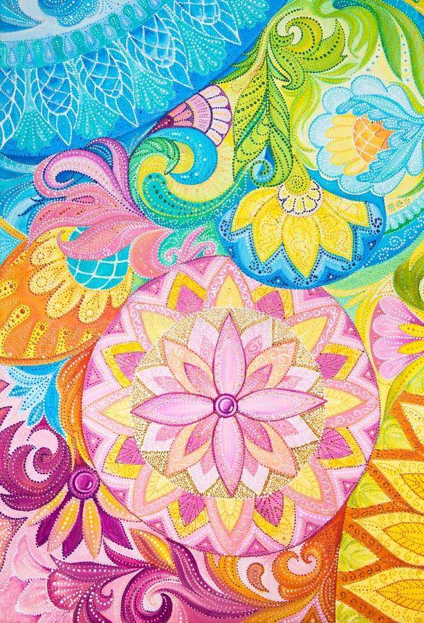 在一块帆布的抽象图画油漆与花饰 向量例证