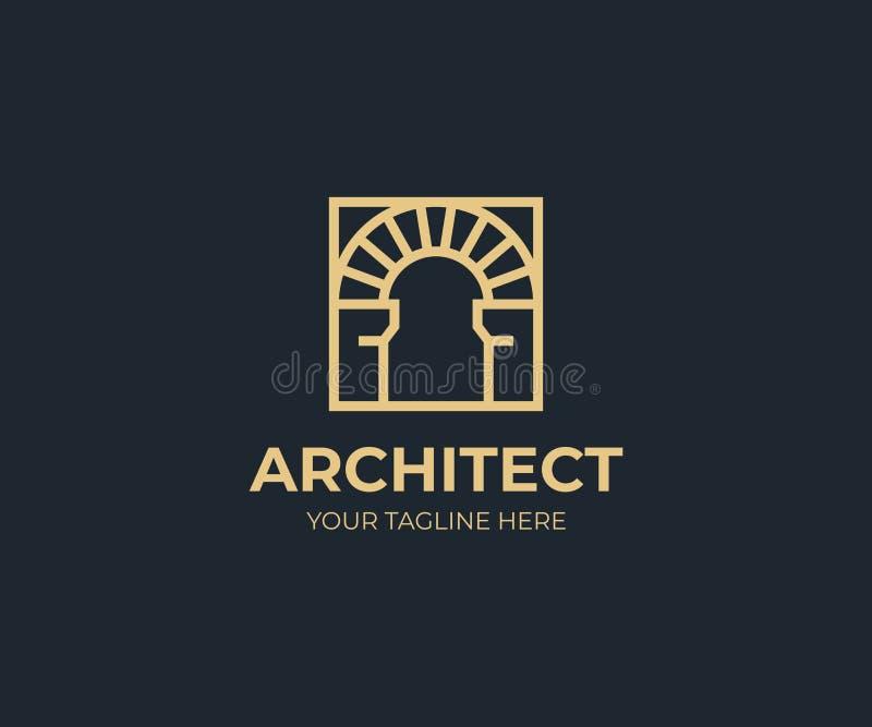在一块方形的商标模板的古色古香的曲拱 葡萄酒曲拱传染媒介设计 皇族释放例证