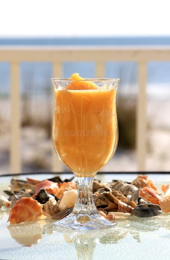 在一块有脚的玻璃的冻结的饮料与海运壳 免版税库存照片