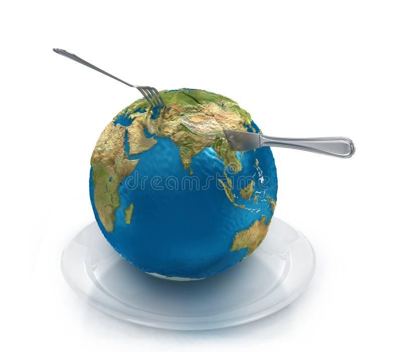 在一块板材的地球有叉子和刀子的, 免版税图库摄影