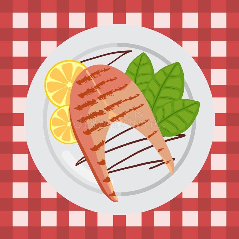 在一块板材的烤三文鱼有蓬蒿和柠檬的 向量例证