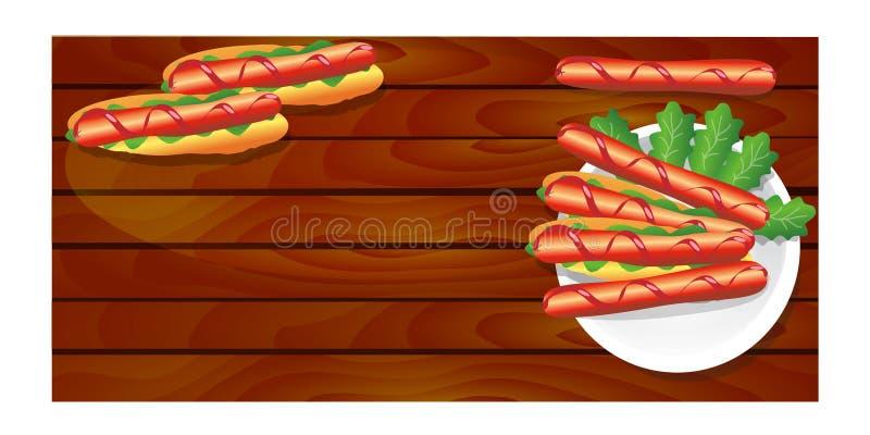 在一块板材的热狗用在委员会的香肠 皇族释放例证