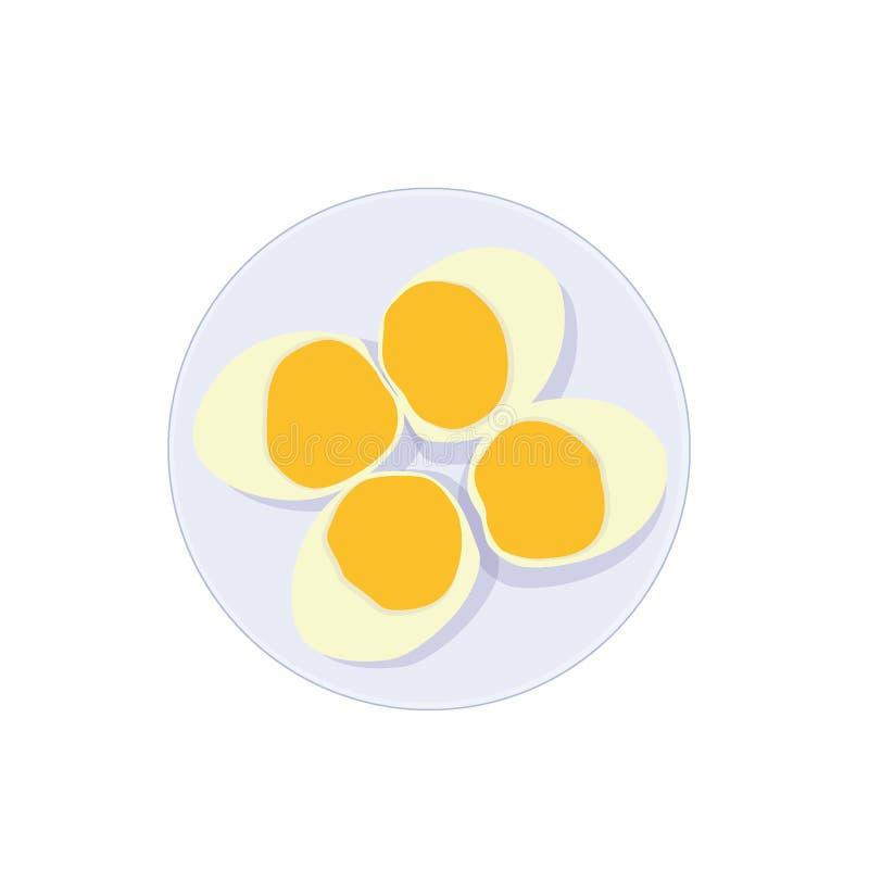 在一块板材的熟蛋在白色背景 皇族释放例证