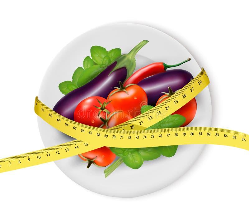 在一块板材的菜有测量的磁带的 在背景空白弓概念节食的显示评定编号附近自己的缩放比例磁带文本附加的空白视窗包裹了您 向量例证