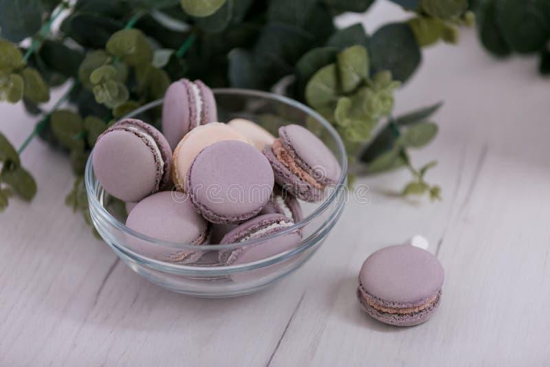 在一块玻璃板的紫色蛋白杏仁饼干 免版税库存照片