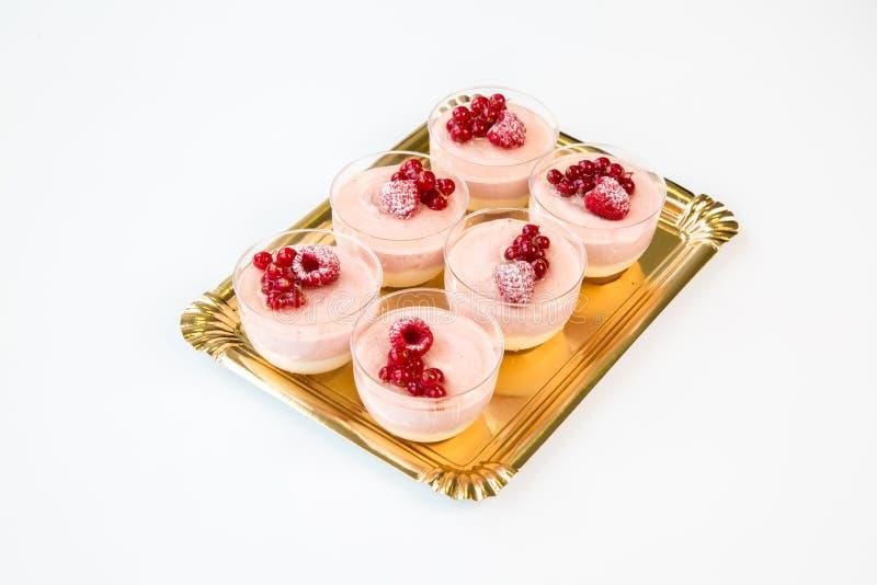 在一块玻璃的小果实蛋糕有白色背景 库存图片