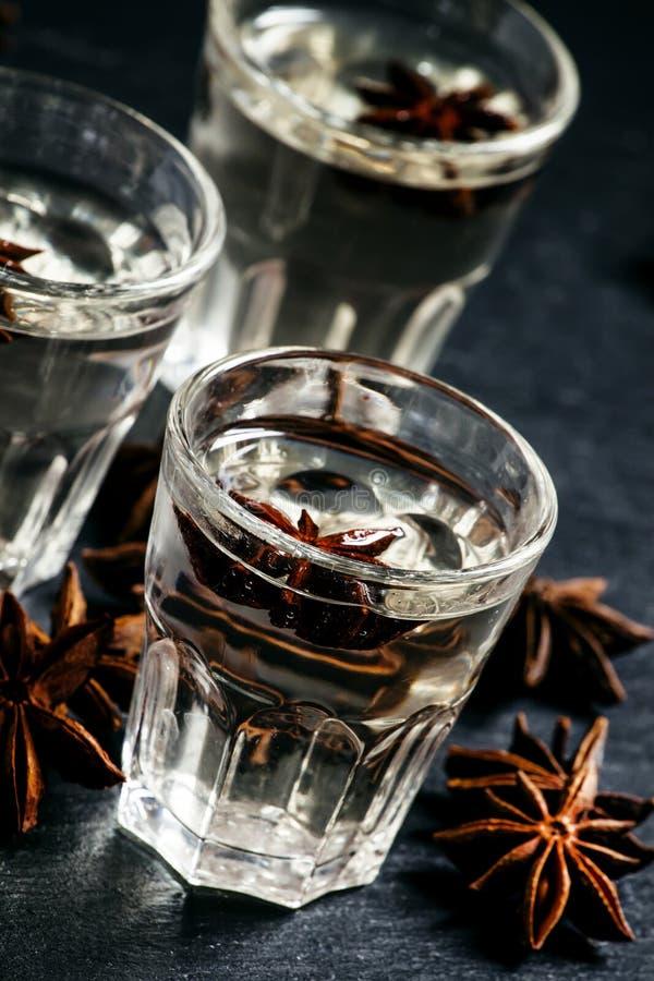 在一块玻璃的自创茴香利口酒在黑暗的背景, selectiv 免版税库存图片
