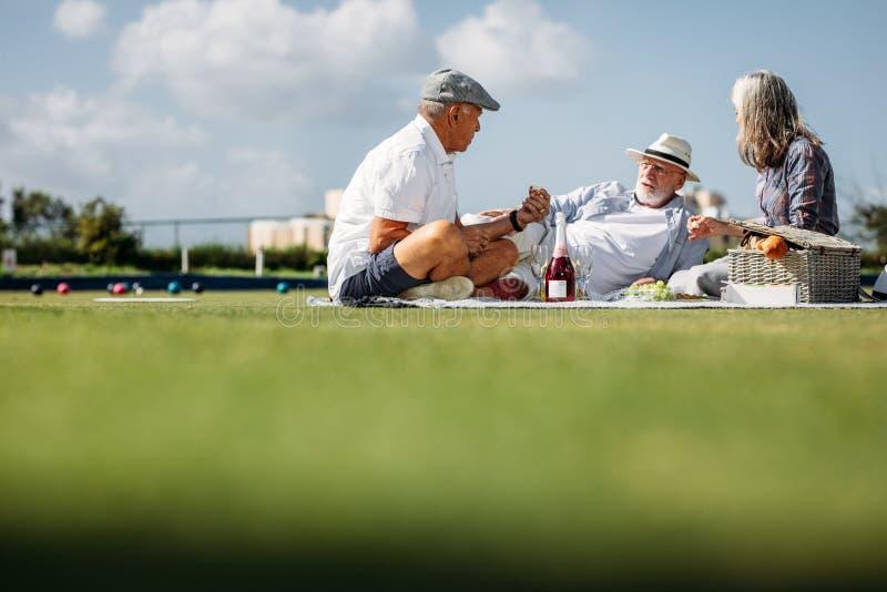 在一天秀手旁观在草坪吃食物的朋友 免版税库存照片