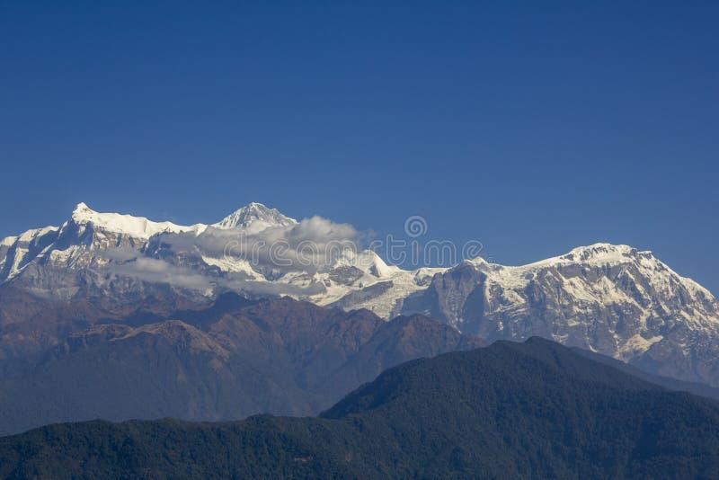 在一天空蔚蓝下的积雪覆盖的山脉与白色云彩和倾斜的绿色森林 安纳布尔纳峰电路 免版税库存图片