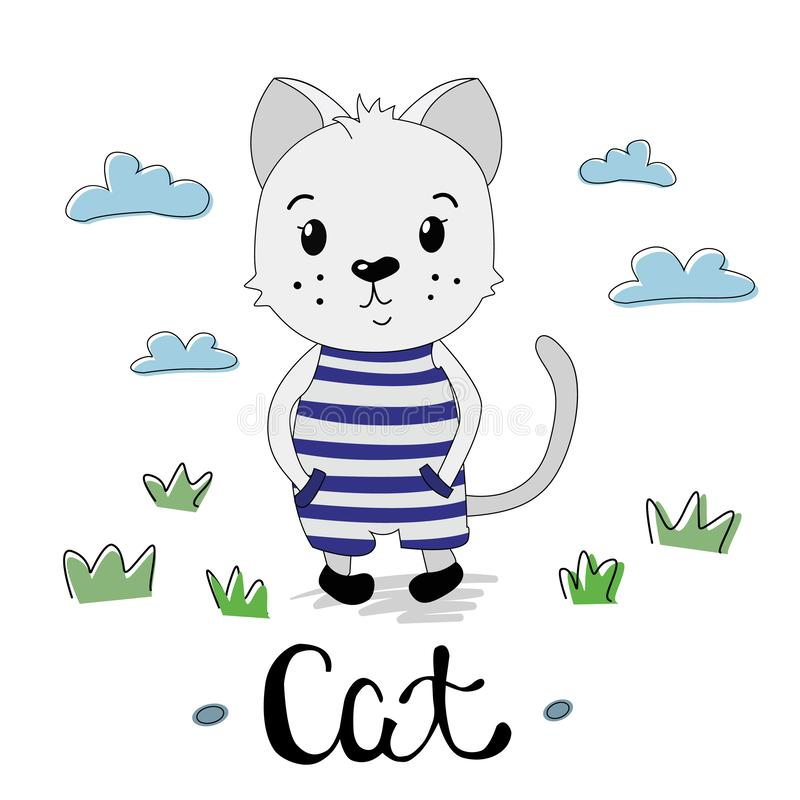 在一套镶边衣服的逗人喜爱的灰色小猫 皇族释放例证