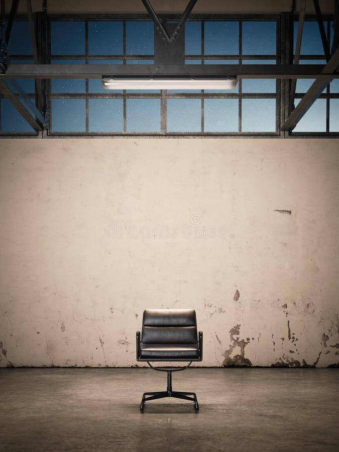 在一家被放弃的工厂的椅子 3d翻译 向量例证