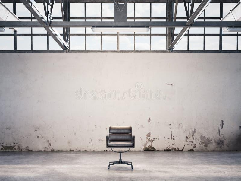 在一家被放弃的工厂的黑椅子 3d翻译 皇族释放例证