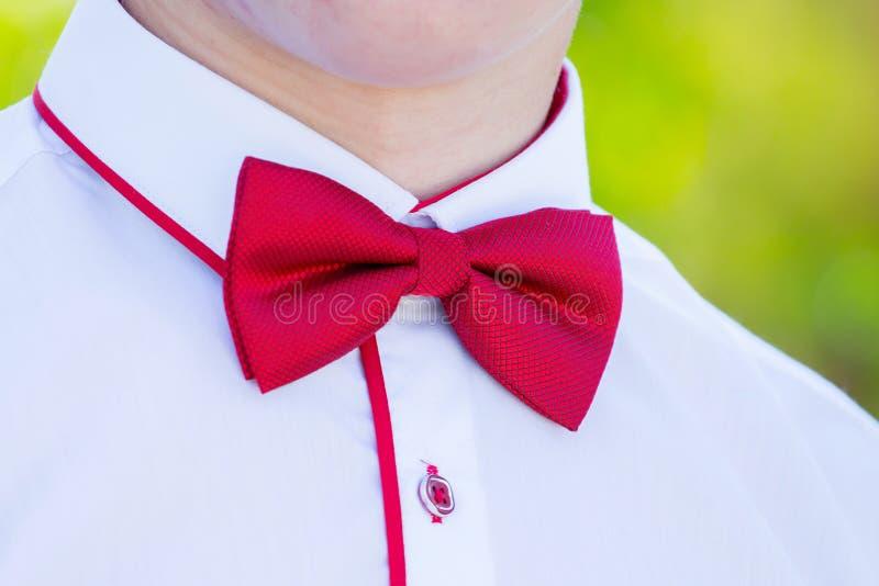 在一年轻man_的白色衬衫的红色蝶形领结 免版税库存图片