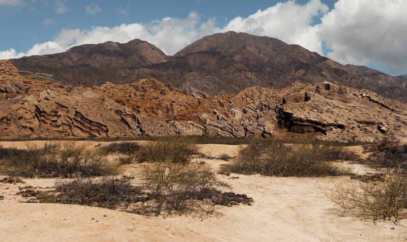 在一座范围山的岩石的奇怪的折叠在阿根廷 库存照片