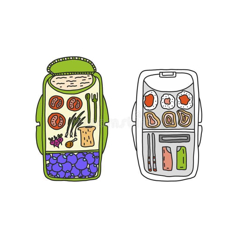 在一开放饭盒的学校午餐 在食物箱子的健康晚餐哄骗休息时间 男小学生食物健康食品袋子与 向量例证