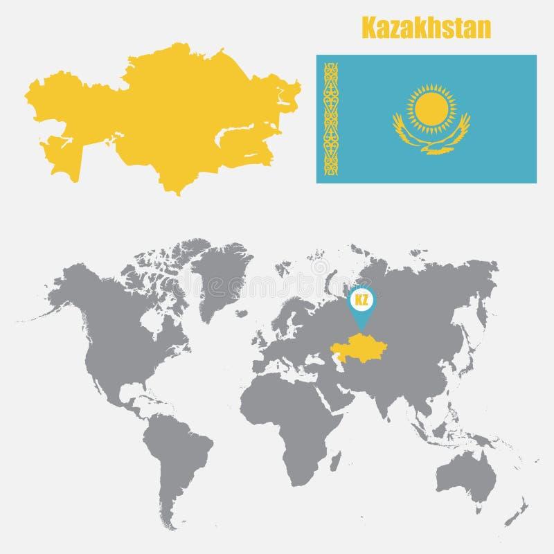 在一张世界地图的哈萨克斯坦地图与旗子和地图尖 也corel凹道例证向量 皇族释放例证