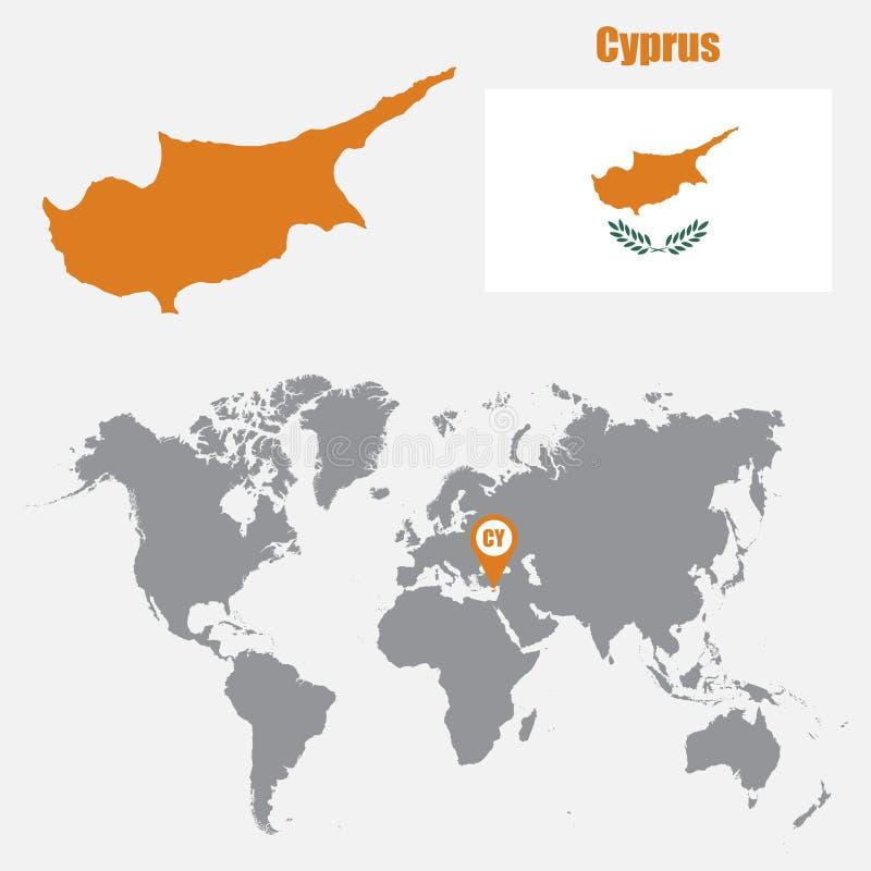 在一张世界地图的塞浦路斯地图与旗子和地图尖 也corel凹道例证向量 向量例证