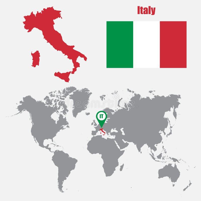 在一张世界地图的意大利地图与旗子和地图尖 也corel凹道例证向量 向量例证