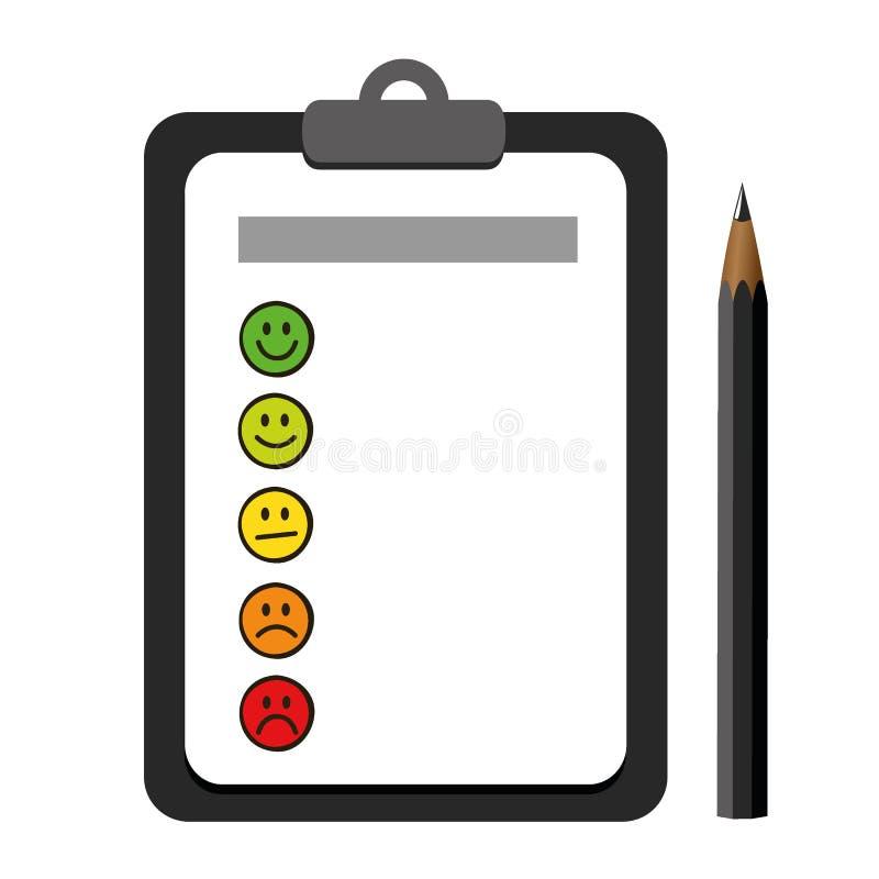 在一张剪贴板的意思号兴高采烈的规定值象有黑暗的笔的 库存例证