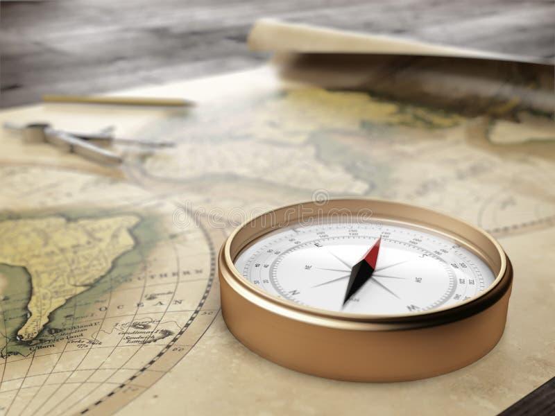 在一张古老世界地图的葡萄酒指南针 皇族释放例证