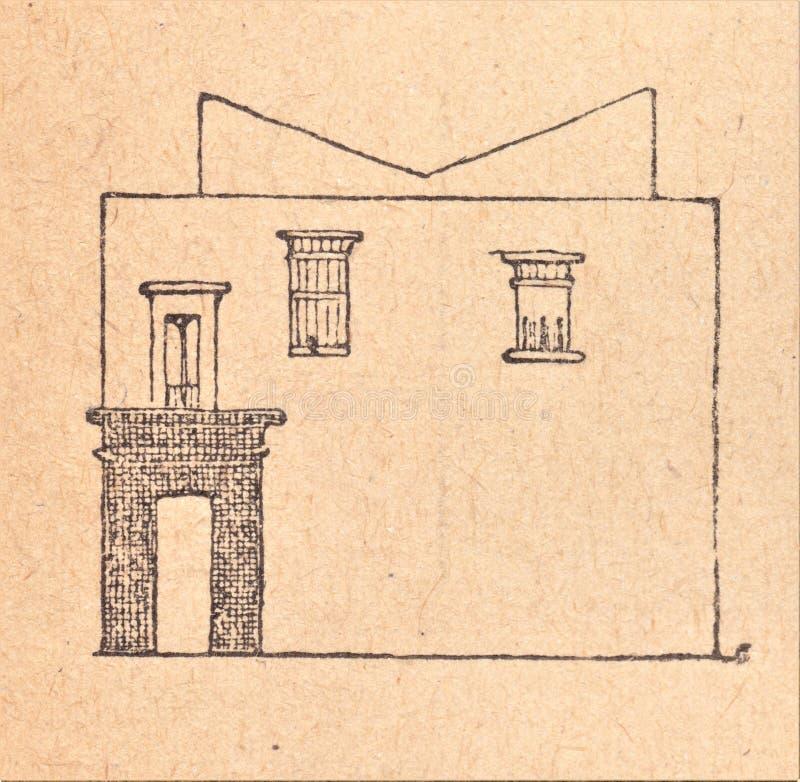 在一张古老绘画以后的埃及房子 库存图片
