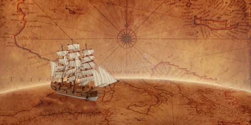 在一张旧世界地图的老帆船 库存图片