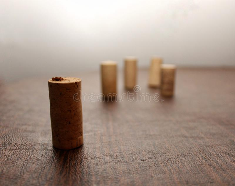 在一张木桌上摇摆的五酒黄柏 免版税库存照片