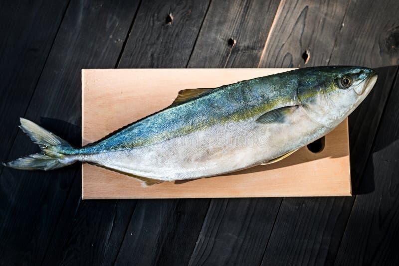 在一张木桌上的生鱼金枪鱼,自由空间 库存图片