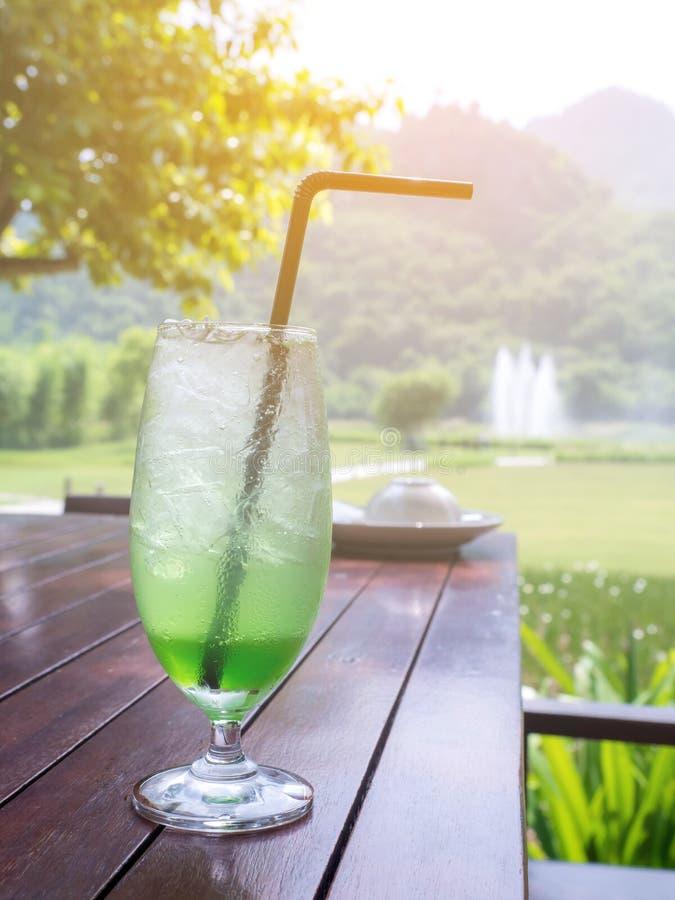 在一张木桌上的绿色鸡尾酒有自然本底 免版税图库摄影