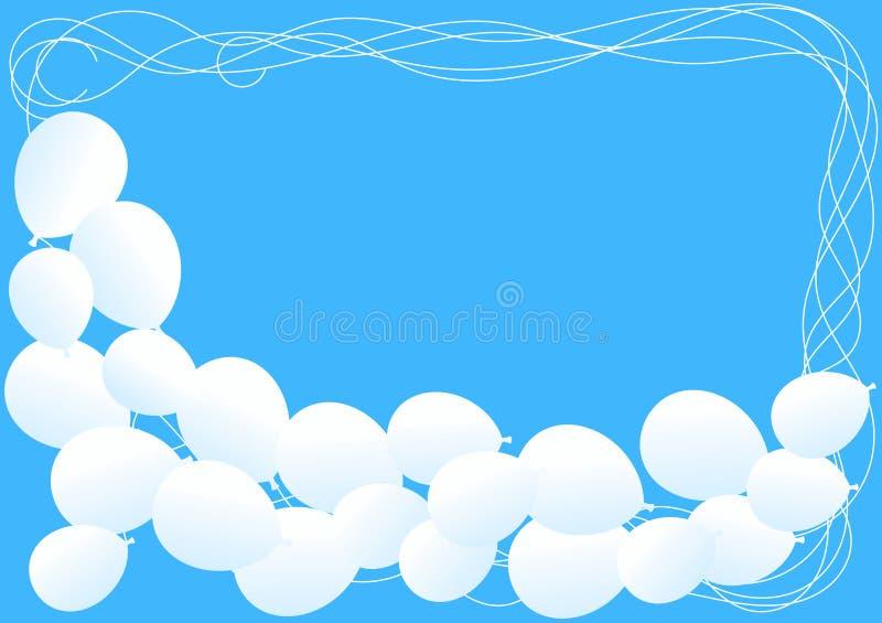 在一张蓝天卡片的白色气球 向量例证