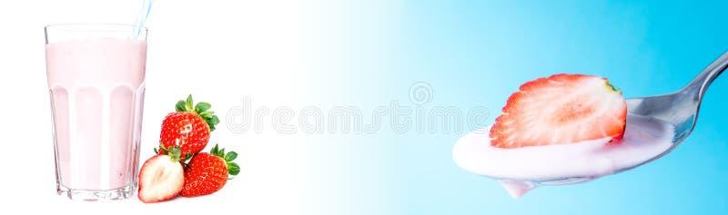 在一把匙子的新鲜的成熟水多的草莓有在蓝色背景的酸奶特写镜头的以与a的一块玻璃为背景 免版税库存图片