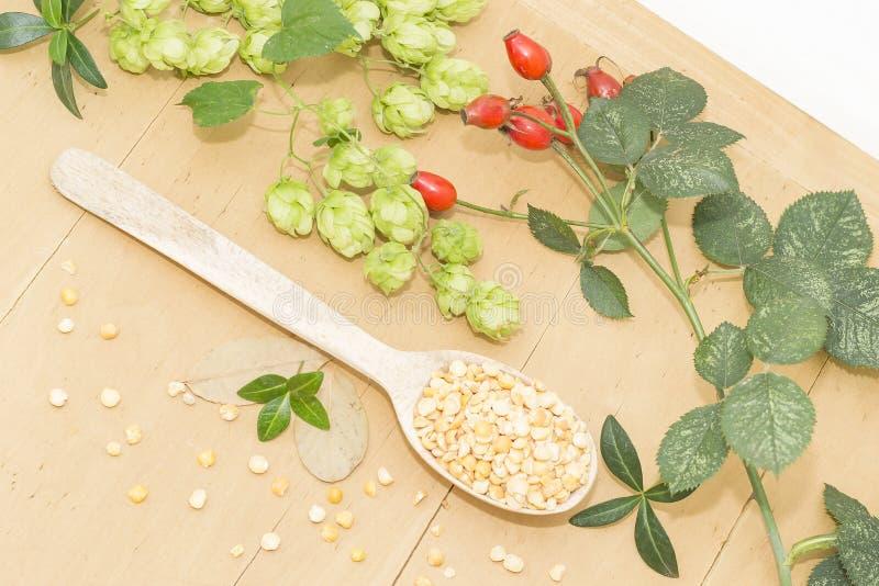 在一把木匙子、蛇麻草和野玫瑰果的豌豆 库存图片
