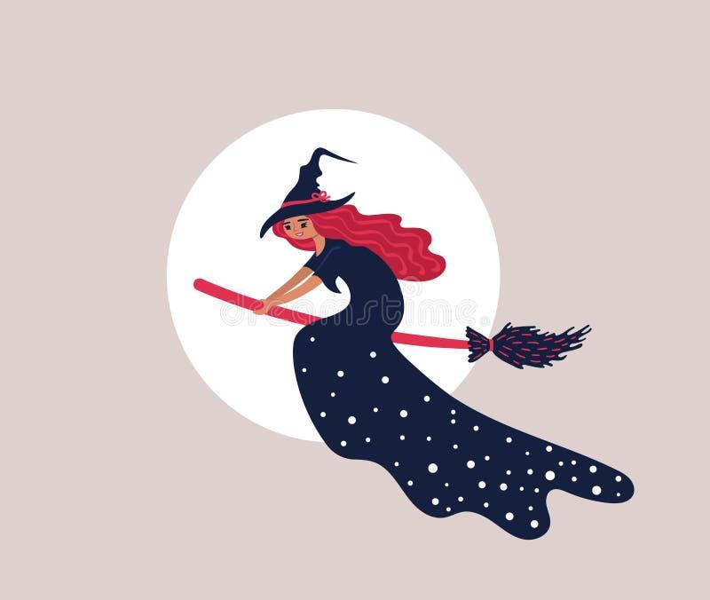 在一把笤帚的一次美好的巫婆飞行在月亮前面 库存例证