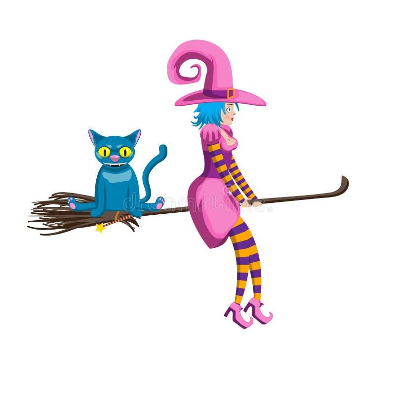在一把笤帚的逗人喜爱的年轻巫婆飞行有一只蓝色猫的 装饰元素字符万圣节假日 o 皇族释放例证